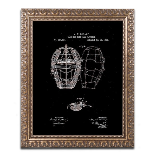 Claire Doherty 'Catcher's Mask Patent 1883 Black' Ornate Framed Art