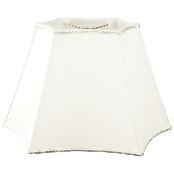 Royal Designs Rectangle Curved Inverted Corner Designer Lamp Shade, White, (7.25 x 4.5) x (12 x 7) x 9