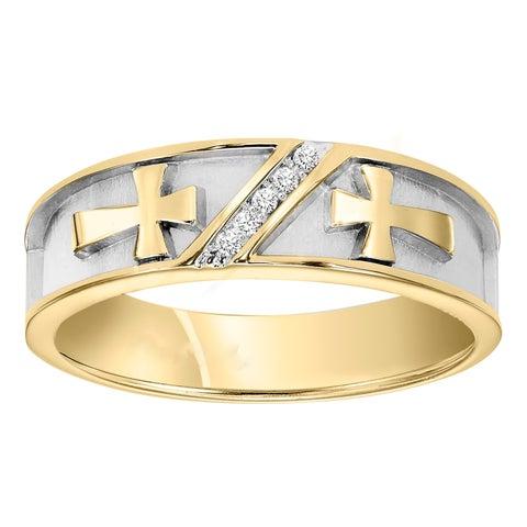 Cambridge Jewelry Men's 10k Gold Diamond Wedding Band