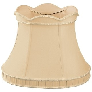 Royal Designs Scalloped Top with Bottom Gallery Oval Bell Designer Lamp Shade, Gypsy Gold, (11 x 9) x (16.25 x 10.5) x 12