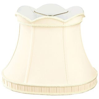 Royal Designs Scalloped Top with Bottom Gallery Oval Bell Designer Lamp Shade, Eggshell, (11 x 9) x (16.25 x 10.5) x 12