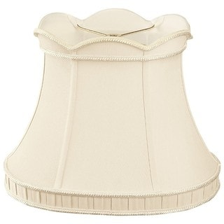 Royal Designs Scalloped Top with Bottom Gallery Oval Bell Designer Lamp Shade, Beige, (9.5 x 7.5) x (14 x 9) x 11