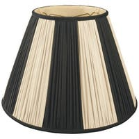 Royal Designs Beige & Black Pleated Round Designer Lamp Shade, Beige/Black, 9 x 18 x 13
