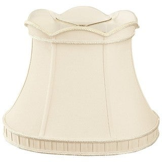 Royal Designs Scalloped Top with Bottom Gallery Oval Bell Designer Lamp Shade, Beige, (8 x 6) x (12 x 7.5) x 10