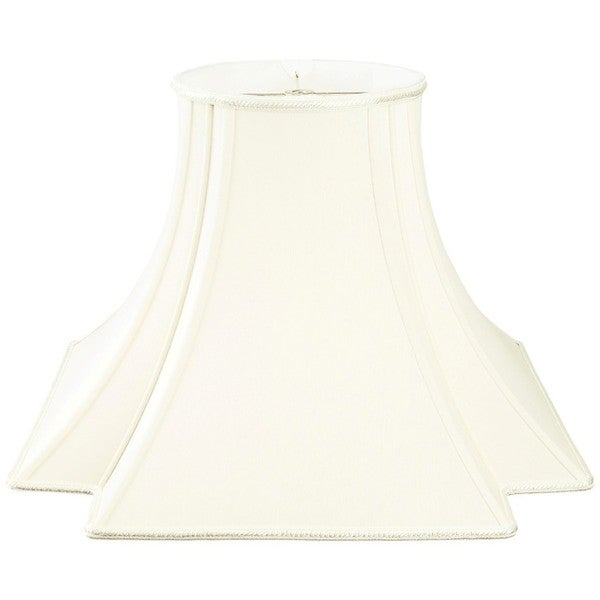 Royal Designs Fancy Square Bell with Inverted Corner Designer Lamp Shade, White, 7 x 16 x 12.5