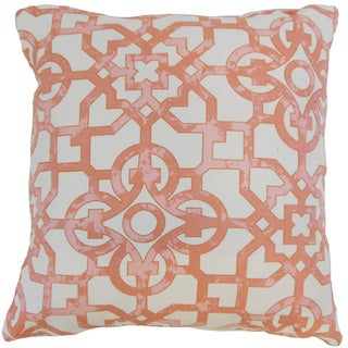 Nowles Geometric 22-inch Down Feather Throw Pillow Geranium