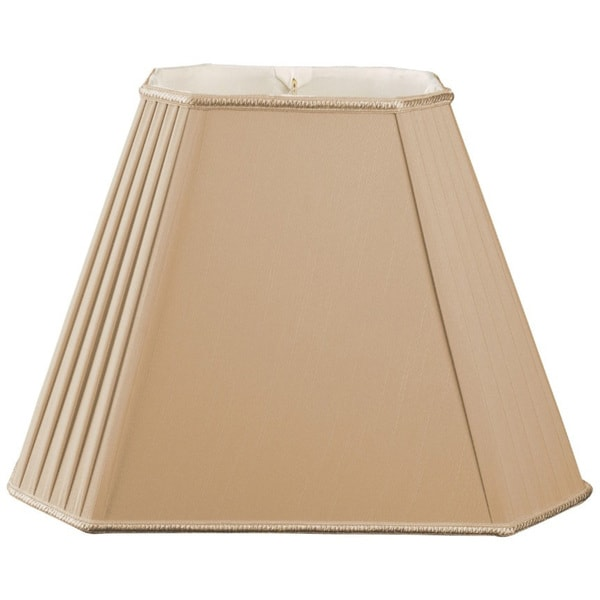 Royal Designs Empire Goldtone 9 x 7.5-inch x 18 x 12-inch x 13-inch Rectangular Staggered Pleats Cut Corners Lampshade