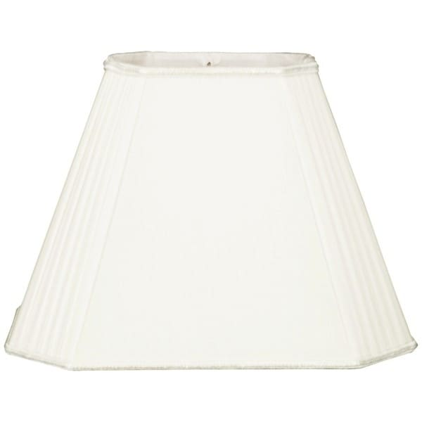 Royal Designs Empire White Staggered Pleats Cut Corners Rectangular Lampshade