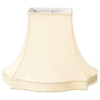 Royal Designs Fancy Square Bell with Bottom Gallery Designer Lamp Shade, Beige, 7 x 16 x 12.75