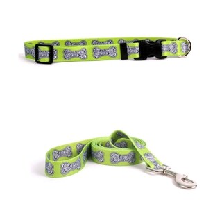 Yellow Dog Design Bella Bone Green Standard Collar & Lead Set