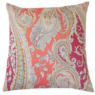 "Efharis Paisley 22"" x 22"" Down Feather Throw Pillow Coral Reef"