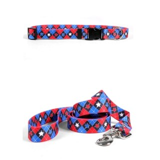 Yellow Dog Design American Argyle Standard Collar & Lead Set