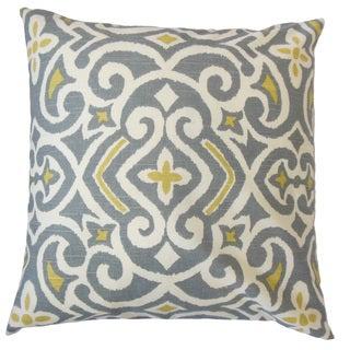 Caraf Damask 22-inch Down Feather Throw Pillow Greystone