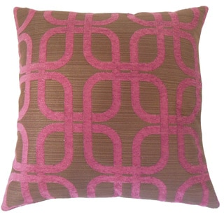 Bertille Geometric 22-inch Down Feather Throw Pillow Berry
