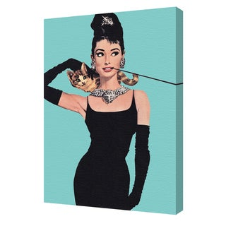 'Audrey Hepburn' Turquoise 24x36 Gallery Wrapped Canvas by Pyramid America
