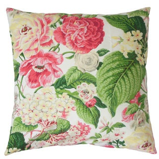 "Kalonice Floral 22"" x 22"" Down Feather Throw Pillow Rose Green"