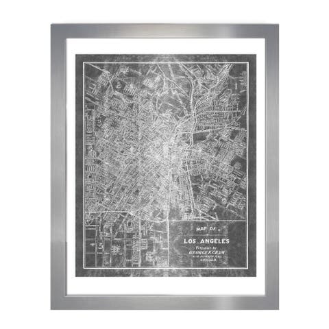 Oliver Gal 'Los Angeles Map 1899 Grey Inverted Silver Metallic'Metallic Art