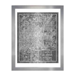 OliverGal 'Los Angeles Map 1899 Grey Inverted Silver Metallic'Metallic Art