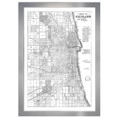Hatcher and Ethan 'Map of Chicago Silver'Metallic Art