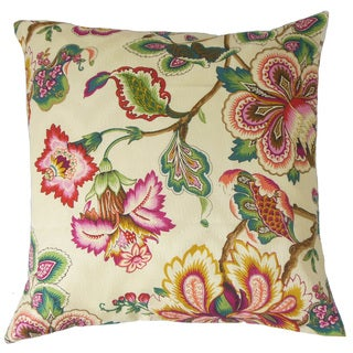 "Ghislaine Floral 22"" x 22"" Down Feather Throw Pillow Rose"