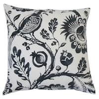 Indivar Floral 22-inch Down Feather Throw Pillow Black White
