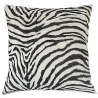 """Wassameh Animal Print 22"""" x 22"""" Down Feather Throw Pillow Black White"""
