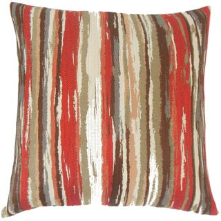 Uchenna Stripes 22-inch Down Feather Throw Pillow Lava