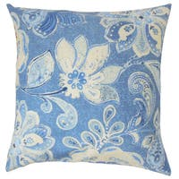 Behitha Floral 22-inch Down Feather Throw Pillow Porcelain