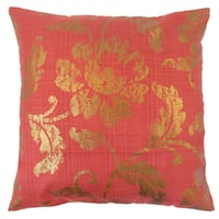 Berdine Floral 22-inch Down Feather Throw Pillow Red