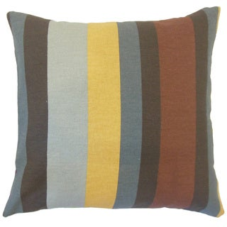 Gainell Stripes 22-inch Down Feather Throw Pillow Grey