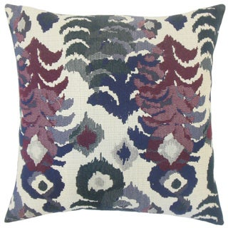 Henriette Ikat 22-inch Down Feather Throw Pillow Berry