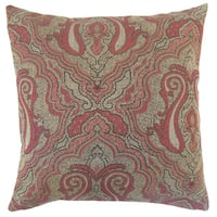 Karleshia Damask 22-inch Down Feather Throw Pillow Currant