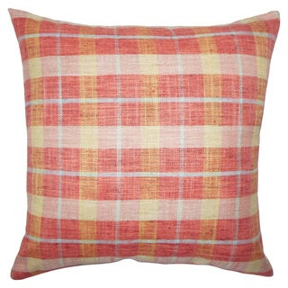 Quinto Plaid 22-inch Down Feather Throw Pillow Strawberry