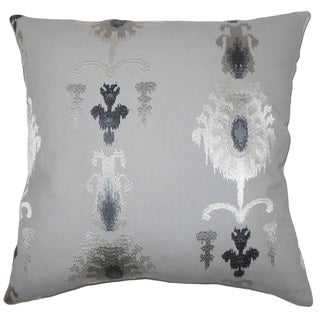 """Calico Ikat 22"""" x 22"""" Down Feather Throw Pillow Pewter"""