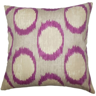 Ridha Ikat 22-inch Down Feather Throw Pillow Currant