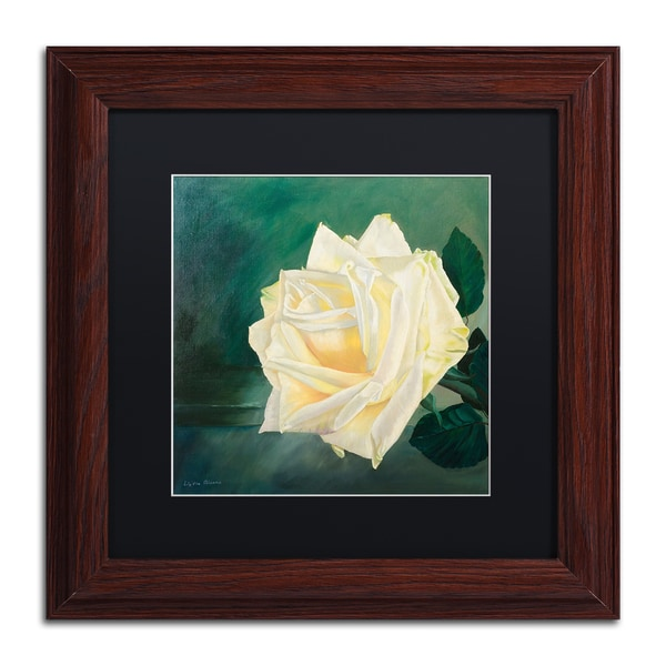 Lily van Bienen 'A Rose is a Rose 1' Matted Framed Art - Green/White