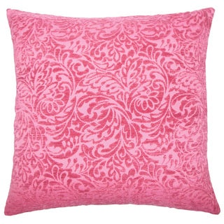Taline Damask 22-inch Down Feather Throw Pillow Azalea