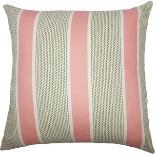 Velten Striped 22-inch Down Feather Throw Pillow Pink Green