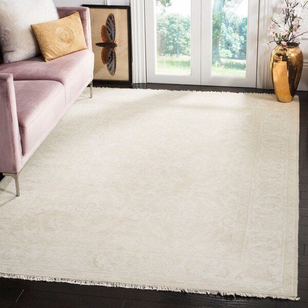 Shop Safavieh Oushak Hand Knotted Grey Ivory Wool Area