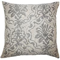 Zain Damask 22-inch Down Feather Throw Pillow Pewter
