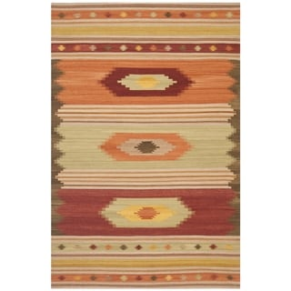 Safavieh Southwest Kilim Hand-Woven-Flat-Weave Brown/ Multi Wool Area Rug (10' x 14')