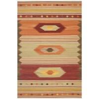 Safavieh Southwest Kilim Hand-Woven-Flat-Weave Brown/ Multi Wool Area Rug - 10' x 14'
