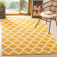 Safavieh Montauk Hand-Woven Flatweave Yellow/ Ivory Cotton Rug - 8' x 10'