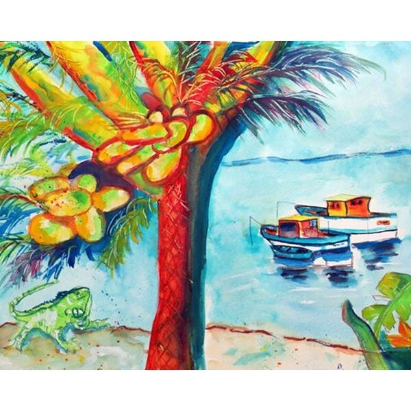 Betsy Drake 'Cocoa Nuts & Boat' Door Mat (30 Inch x 50 Inch)