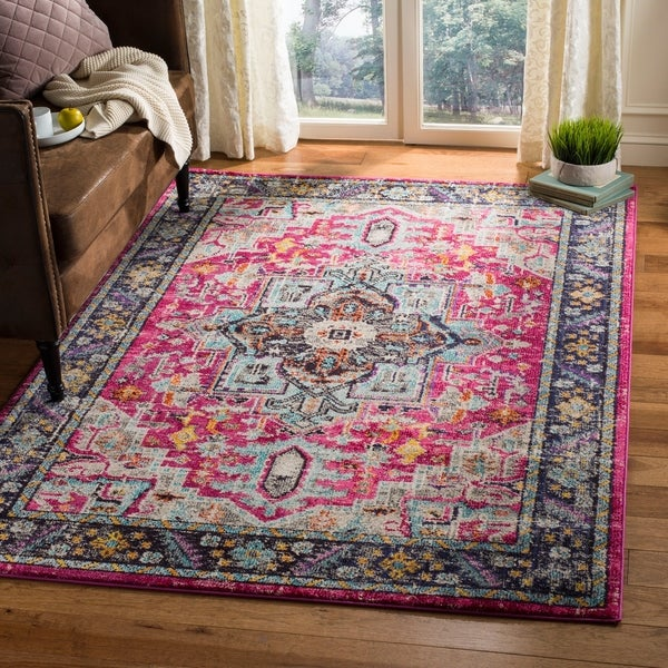 shop safavieh monaco bohemian medallion pink grey distressed area rug 8 39 x 10 39 on sale. Black Bedroom Furniture Sets. Home Design Ideas