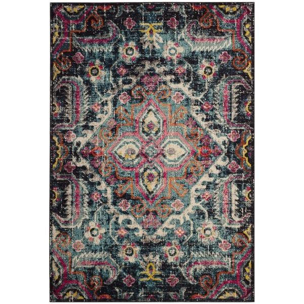 safavieh monaco bohemian medallion blue pink distressed area rug 8 39 x 10 39 free shipping. Black Bedroom Furniture Sets. Home Design Ideas