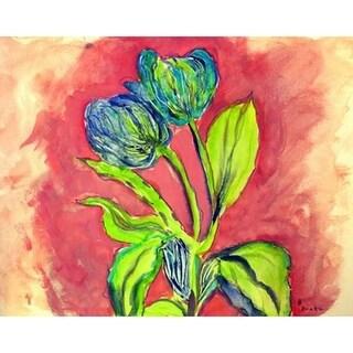 Betsy Drake Tulips in Peach 18 x 26 Doormat