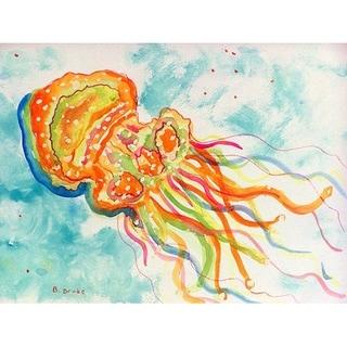 Betsy Drake Orange Jellyfish Floor Mat (18-inch x 26-inch)
