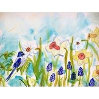 Betsy Drake Bird and Daffodil Door Mat (18-inch x 26-inch)
