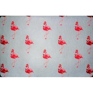 Flamingo Santa Floor Mat 18x26